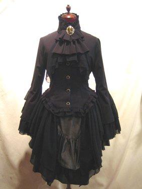 貴族風アンティークタイ付きドレープジャケット+アシンメトリー前ロングスカート:黒×黒(グレーチェックスカー…