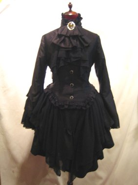 貴族風アンティークタイ付きドレープジャケット+アシンメトリー前ロングスカート:黒×黒(黒スカート)
