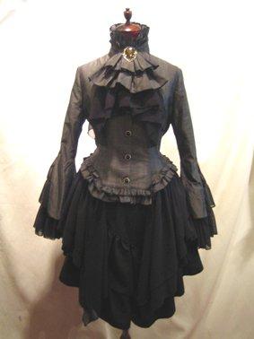 貴族風アンティークタイ付きドレープジャケット+アシンメトリー前ロングスカート:グレーチェック×黒(黒スカー…