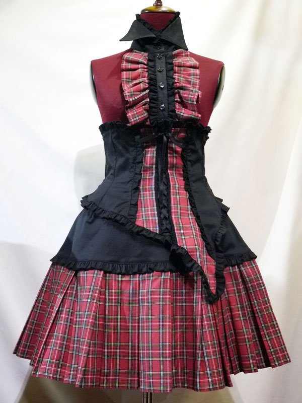 胸元フリル衿付きアシンメトリーコルセット+BOXプリーツスカート:黒×赤タータンチェック