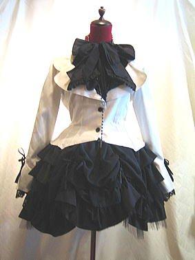 ブラウス付き風レイヤードジャケット+ロザリオネックレス+シャーリングフリル2枚重ねスカート:白黒ジャケット×黒ドット刺繍スカ…