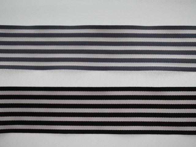 ストライプリボン(ブラックor グレー)40mm幅/5m