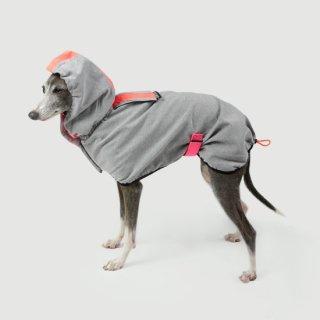 HOODIE DOG RAINCOAT - LIGHT GREY / DOGSNUG (フーディ・レインコート - ライトグレー / ドッグスナッグ)