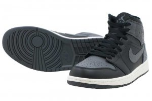 NIKE AIR JORDAN 1 MID - BLACK/DARK GREY-SUMMIT WHITE