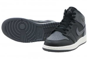 NIKE AIR JORDAN 1 MID BG - BLACK/DARK GREY-SUMMIT WHITE