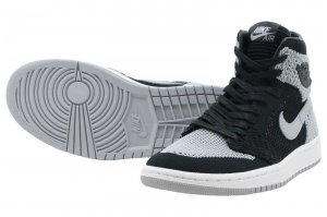 NIKE AIR JORDAN 1 RETRO HIGH FLYKNIT BG - BLACK/WOLF GREY