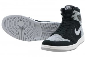 NIKE AIR JORDAN 1 RETRO HI FLYKNIT - BLACK/WOLF GREY