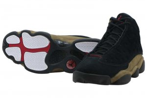 NIKE AIR JORDAN 13 RETRO - BLACK/TRUE RED-LIGHT OLIVE