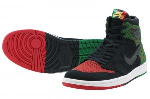 NIKE AIR JORDAN 1 RETRO HI FLYKNIT BHM - BLACK/LUCID GREEN/UNIVERSITY RED-BLACK