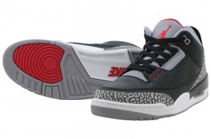 NIKE AIR JORDAN 3 RETRO OG - Black/Fire Red-Cement Grey