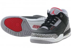 NIKE AIR JORDAN 3 RETRO OG BG - Black/Fire Red-Cement Grey
