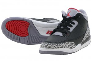 NIKE AIR JORDAN 3 RETRO BP - Black/Fire Red-Cement Grey