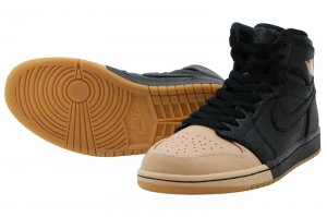 NIKE WMNS AIR JORDAN 1 RETRO HIGH PREM - BLACK/METALIC GOLD-VACHETTA TAN