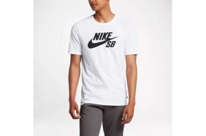 NIKE SB DRI-FIT LOGO T-SH - WHITE/BLACK