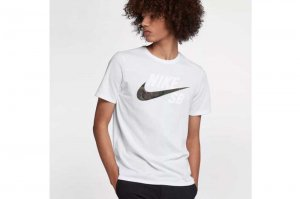 NIKE SB DRI-FIT COTTON CAMO T-SH - WHITE
