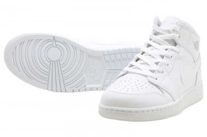 NIKE AIR JORDAN 1 MID BG - WHITE/PURE PLATINUM-WHITE
