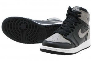 NIKE AIR JORDAN 1 RETRO HIGH OG BG - BLACK/MED GREY-WHITE
