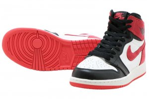 NIKE AIR JORDAN 1 RETRO HIGH OG BG - SUMMIT WHITE/TRACK RED-BLACK