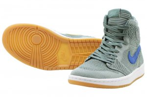 NIKE AIR JORDAN 1 RETRO HIGH FLYKNIT BG - CLAY GREEN/WHITE-HYPER COBALT
