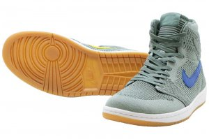 NIKE AIR JORDAN 1 RETRO HIGH FLYKNIT - CLAY GREEN/WHITE-HYPER COBALT