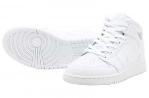 NIKE AIR JORDAN 1 MID GS - WHITE/PURE PLATINUM-WHITE