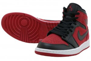 NIKE AIR JORDAN 1 MID - GYM RED/BLACK-WHITE