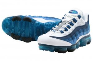 NIKE AIR VAPORMAX 95 - WHITE/NEW GREEN-FRENCH BLUE