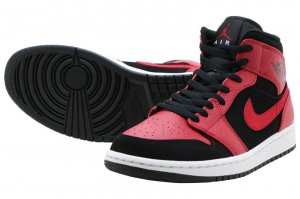 NIKE AIR JORDAN 1 MID - BLACK/GYM RED-WHITE