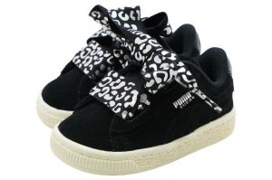 PUMA SUEDE HEART ATH LUXE INFANT - PUMA BLACK-SILVER-WHITE