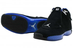 NIKE AIR JORDAN 18 RETRO - BLACK/METALIC SILVER-SPORT ROYAL