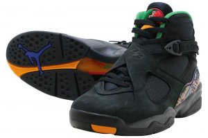 NIKE AIR JORDAN 8 RETRO - BLACK/LIGHT CONCORD-ALOE VERDE