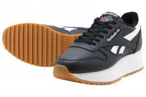 Reebok CL LTHR DOUBLE EF - BLACK/WHITE/PRIMAL RED