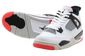 NIKE AIR JORDAN 4 RETRO (GS) - WHITE/BLACK-BRIGHT CRIMSON