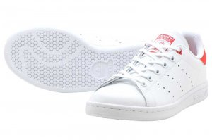 adidas STAN SMITH J - WHITE/WHITE/ACTIVE RED