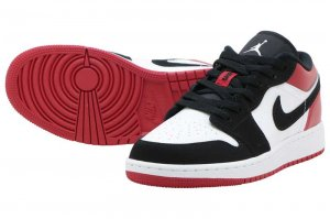 NIKE AIR JORDAN 1 LOW (GS) - WHITE/BLACK-GYM RED