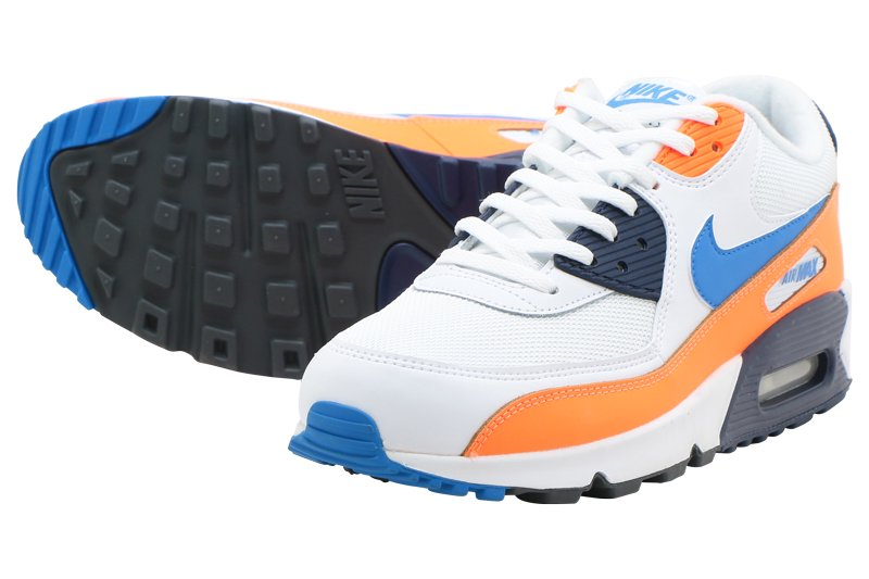 3ed140317c NIKE AIR MAX 90 ESSENTIAL - WHITE/PHOTO BLUE-TOTAL ORANGE aj1285-104