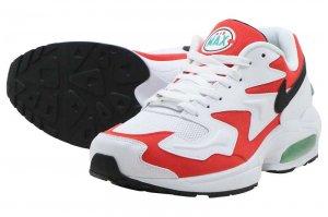 NIKE AIR MAX2 LIGHT - WHITE/BLACK-HABANERO RED