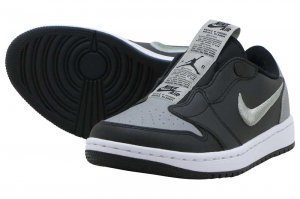 NIKE W AJ 1 RETRO LOW SLIP SE - BLACK/MEDIUM GREY-WHITE