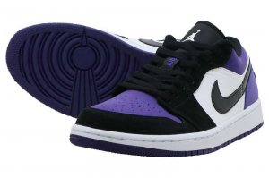 NIKE AIR JORDAN 1 LOW - WHITE/BLACK-COURT PURPLE