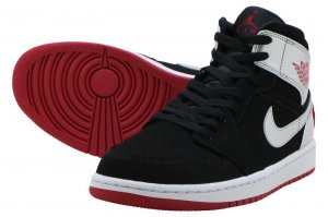 NIKE AIR JORDAN 1 MID - BLACK/GYM RED-METALIC SILVER