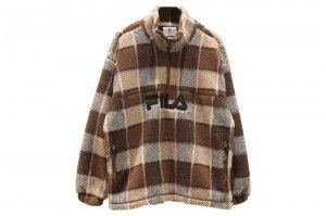 FILA HALF ZIP CHECK JACKET - BROWN