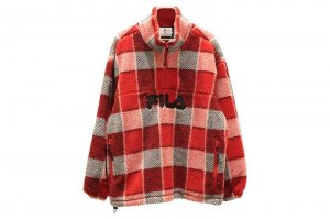 FILA HALF ZIP CHECK JACKET - RED