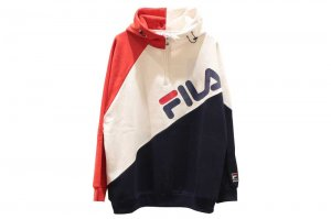 FILA HALF ZIP HOODED - NAVY