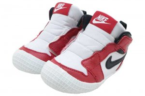 NIKE JORDAN 1 CRIB BOOTIE - WHITE/BLACK-VERSITY RED