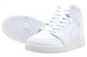 AIR JORDAN 1 MID GS - WHITE/WHITE-WHITE