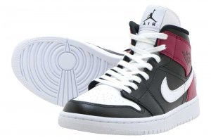 WMNS AIR JORDAN 1 MID - BLACK/WHITE-NOBLE RED