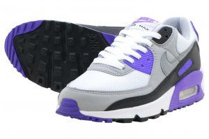 NIKE W AIR MAX 90 - WHITE/PARTICLE GREY-PURPLE-BLACK