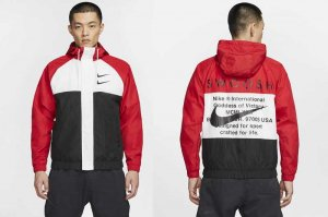 NIKE SWOOSH HOODIE WOVEN JACKET - UNIVERSITY RED/WHITE-BLACK