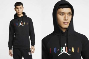 NIKE JORDAN DNA BRUSHED HBR PULLOVER HOODIE - BLACK/WHITE