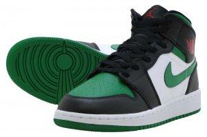 AIR JORDAN 1 MID GS - BLACK/PINE GREEN-WHITE-GYM RED